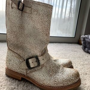 Rustic White cracked Frye boots